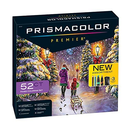 PrismaColor Premier 52-Piece Gift Set, Includes 24 Premier Colored Pencils for Landscape and Under The Sea Themes, 24 Premier Dual Ended Markers, 3 Coloring Pages and 1 Premier Pencil Sharpener