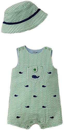 Woven Sunsuit - Little Me Baby Boys Woven Sunsuit with Bucket Hat, Green, 9 Months
