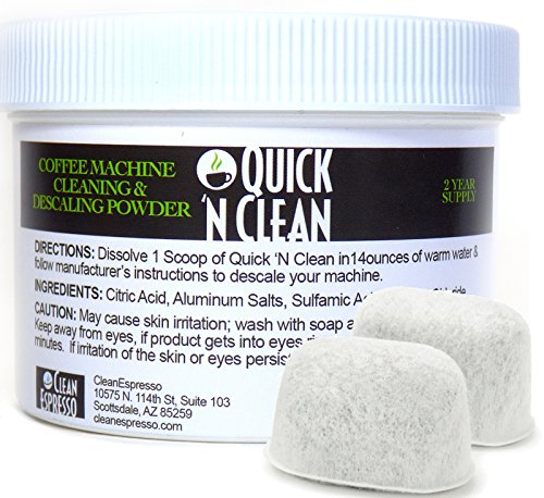 Keurig Coffee Machine Descaling Solution & 2 Pack Replacement Filter Kit By Quick 'N Clean Coffee (4 Cleaning - Coupon Brand Glasses All