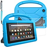 FineGood Protective Case for Amazon Fire 7 2017 and 2015 Tablet with Screen Protector, Convertible Light Weight Handle Shock Proof for Kids with Stylus Ball Point Pen - Blue
