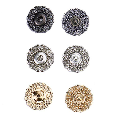 Monrocco 30 Pack 21mm Metal Snap Buttons Clasp Buttons Sun Flower Design Sew-on Snap Buttons Press Button for Dress Coat Clothing DIY (Gold & Gun Black & Silver) ()