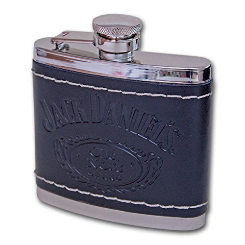 Jack-Daniels-Tennessee-Whiskey-Old-No-7-Brand-Black-Leather-Wrapped-Stainless-Steel-Flask