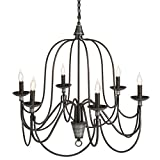 Best Choice Products 6-Light Home Ceiling Candle Chandelier Hanging Fixture - Bronze