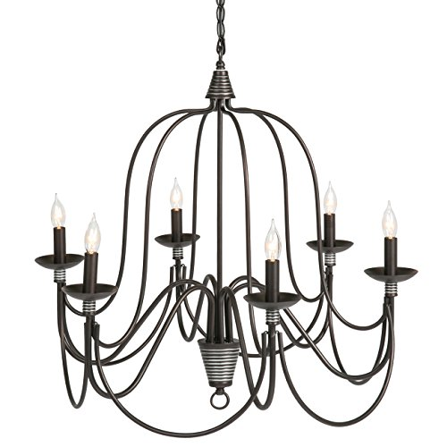 (Best Choice Products 25in 6-Light Candle Chandelier Hanging Lighting Fixture for Living Room, Kitchen, Foyer w/ 41in Chain - Bronze)