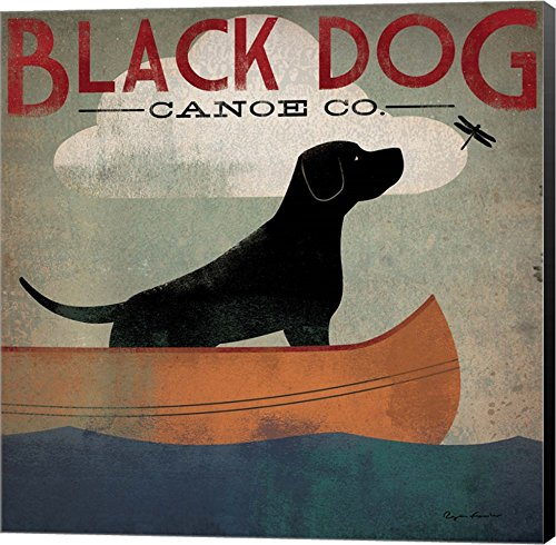 - Black Dog Canoe by Ryan Fowler Canvas Art Wall Picture, Museum Wrapped with Black Sides, 12 x 12 inches