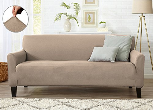 Home Fashion Designs Form Fit Stretch, Stylish Furniture Cover/Protector Featuring Lightweight Twill Fabric. Dawson Collection Basic Strapless Slipcover. By Brand. (Sofa, Tan) Full Slipcover