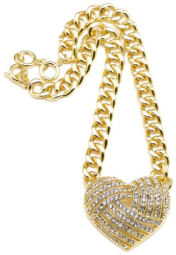 Heart Necklace Gold Color Light Weight 17-19 Inch Adjustable Plastic Link Chain Iced Out - Style Nikki Minaj