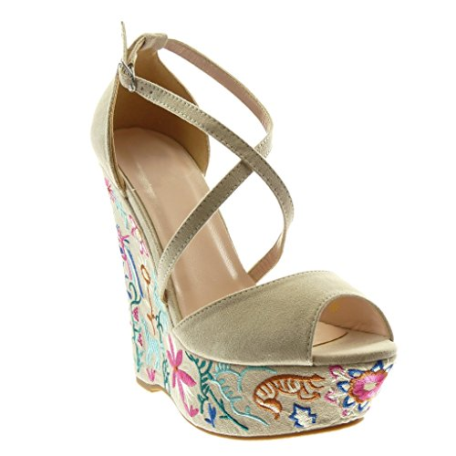Angkorly Damen Schuhe Sandalen Mule PeepToe Plateauschuhe ...