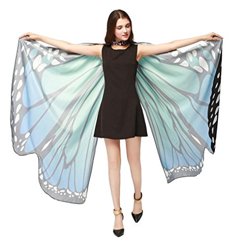 Yuxing Women Butterfly Wings Shawl Wrap Fairy Nymph Pixie for Fancy Party Halloween Costume (Blue)