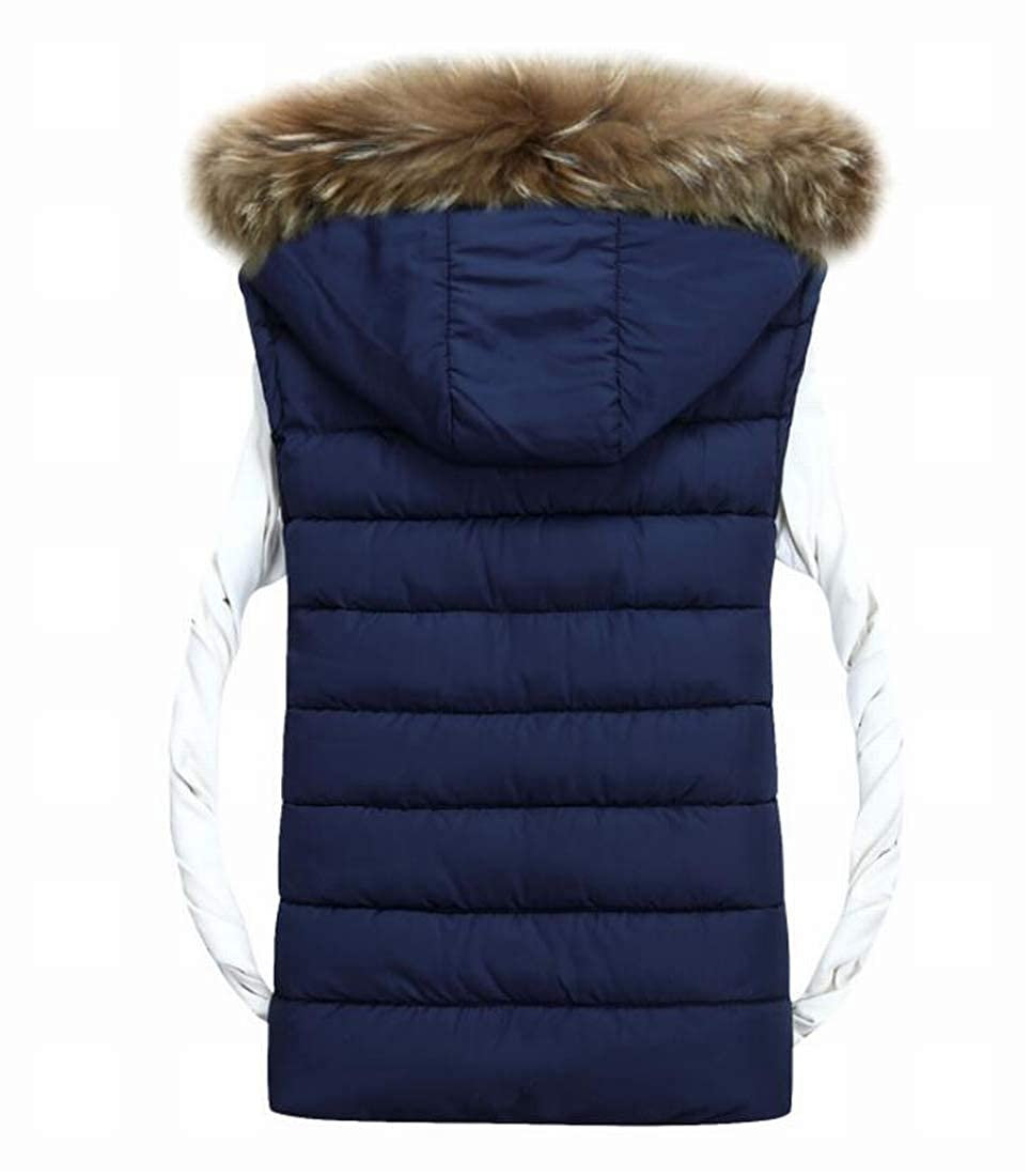 Yaolor Men Casual Solid Color Sleeveless Faux Fur Hooded Down Vest