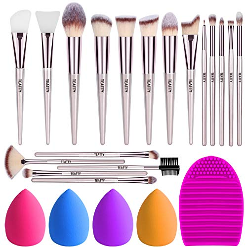TEATTY Makeup Brushes 18 PCs Makeup Brush Set 2 PCS Silicone Face Mask Brush&4 Blender Sponge&1 Brush Cleaner Premium Synthetic Foundation Powder Concealers Eye Shadows Makeup Brushes Kit