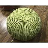 Hand Knitted Woolen Round Cushion POUF Floor Ottoman (Green)