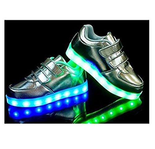 [Present:kleines Handtuch]JUNGLEST® Kinder Jungen M?dchen Bunte LED Leuchtet Sportschuhe Sneakers Athletische S Silber