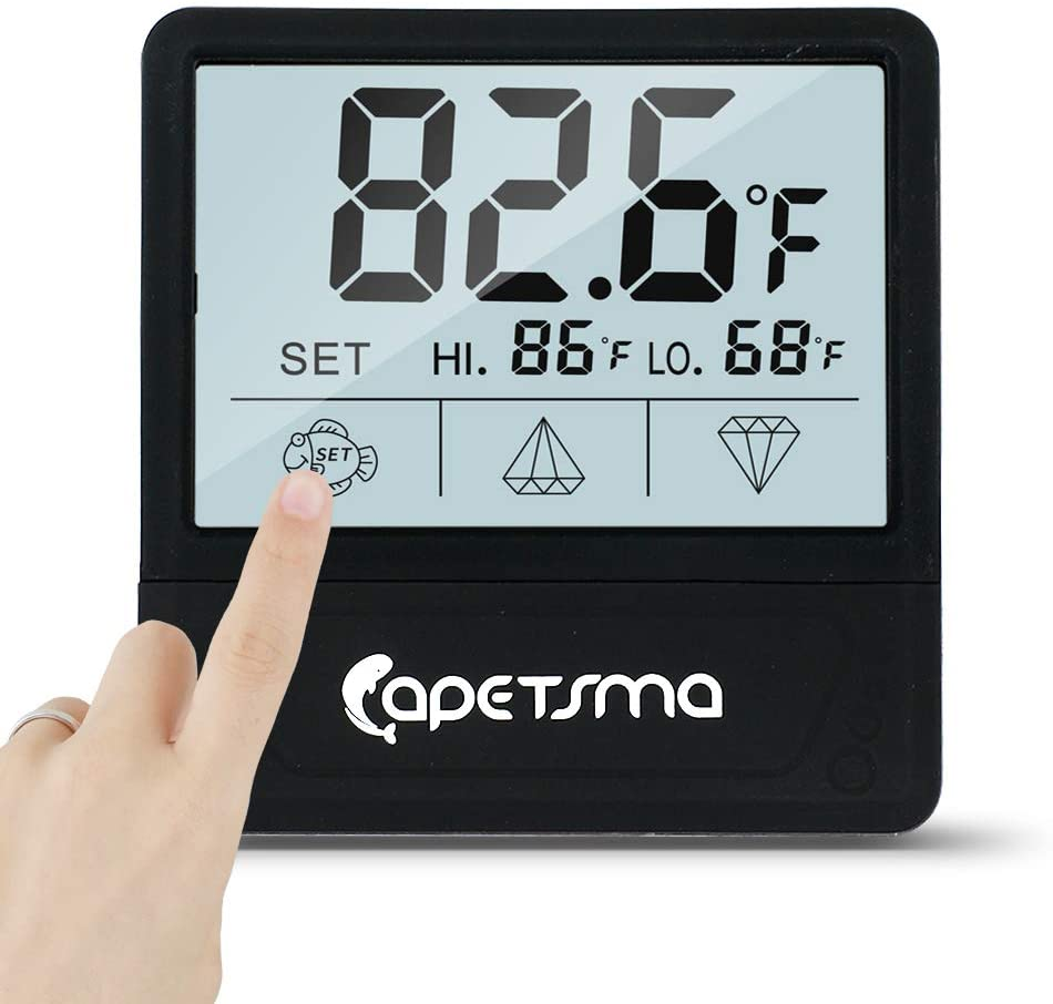 Qguai Aquarium Thermometer, C/F Switch LCD Digital Fish Tank Thermometer with Large Clear Screen, Monitor Water Terrarium Temperature, No Messy Wires in Your Saltwater Freshwater and Reef Aquarium.