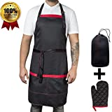 Work Aprons for Men with Large Pockets | Heavy Duty & Adjustable Chef Apron for Men and Women | Perfect for Cooking, BBQ, Grilling, Kitchen Working or Welding | 1 Oven Glove Included