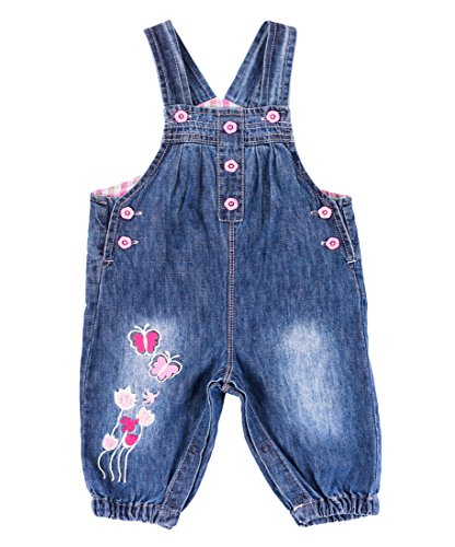 Dungarees 3 (BAIXITE Baby & Little Girls Soft Embroidered Denim Overalls Adjustable Washed Jeans Dungarees (3-24 Months) (18-24 Months, Butterfly 03))