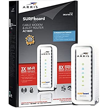 ARRIS SURFboard AC1600 DOCSIS 3.0 Cable Modem Router (SBG6700AC) Certified with Comcast Xfinity, Time Warner Cable, Charter, Cox, Cablevision, and more (White,Retail Packaging)