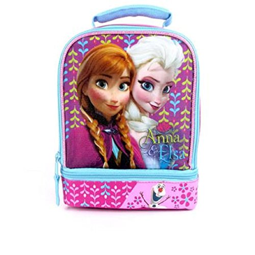 Disney Frozen Anna & Elsa 2-pocket Lunch Bag - Insulated w/ 2 Zippers - Hard to Find!