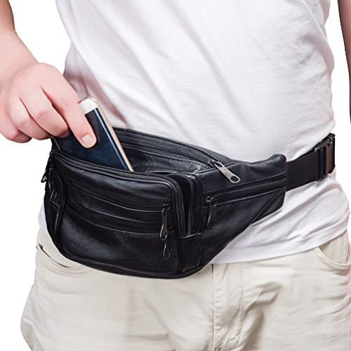 FANNING511 Waist Pack Cowhide Leather Large Size 7 Pockets Fanny Pack Black - Natural Waist Pocket