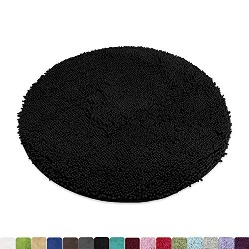 MAYSHINE Round Non-Slip Chenille Shaggy Machine-Washable Dog Door mat Black(3ft Diameter)