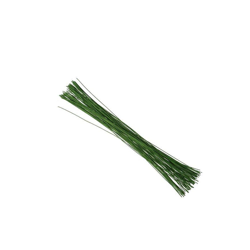 Green Crafting Floral Stem Wire 14 inch 18 Gauge for Handcrafts 200 Counts by LEAFBABY