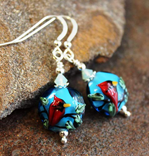 Handmade Silver Lampwork Earrings - Cardinal Earrings Sterling Silver Lampwork Art Glass