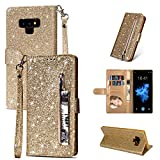 ZCDAYE Galaxy S7 Edge Wallet Case,Bling Glitter Sparkly Zipper PU Leather Magnetic Flip Folio Card Pockets Holder with Wrist Strap Stand Protective Case Cover for Samsung Galaxy S7 Edge - Gold