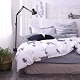 FenDie Forest Duvet Cover Set Twin Boys Deer Printed Bedding Quilt Cover Cotton White, Reversible Striped Pattern Home Collections