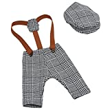 YeahiBaby Newborn Baby Photography Props Cute Plaid Suspender Pants and Peaked Cap Set