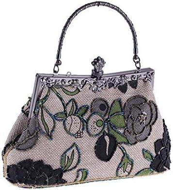 財布ビーズのバッグ、エスニック風のリネンカジュアルイブニングバッグ、古典的なチャイナトートバッグ、22 * 14 * 7 Cm(色:黒) 美しいファッション (Color : Black)