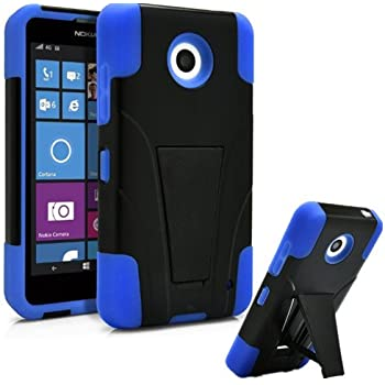 Nokia Lumia 635 Case, Premium Durable Hard&Soft Rugged Shell Hybrid Protective Phone Case Cover with Built in Kickstand【Storm Buy】 (Blue)