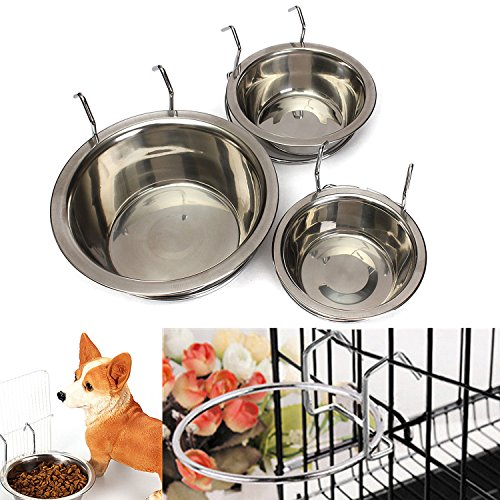 Yosoo Stainless Steel Hanging Pet Cage Bowl Diner Pet Bowl Bird Cat Dog Food Water Bowl with Hanger (Size L) by Yosoo
