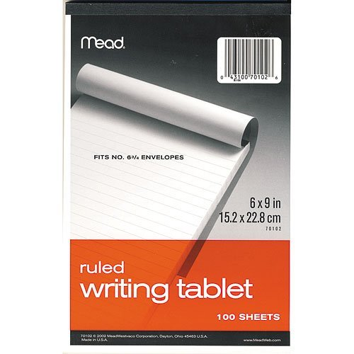 "12 PACK: Mead 70102 6"" x 9"" 100-Sheet White Ruled Writing Tablet Notepad (70102)"
