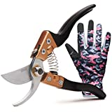 RZleticc Garden Pruning Shears with Premium Garden Gloves - Bypass Pruning Shears Hand Pruners, Garden Clippers Heavy Duty with Rust Proof Blades
