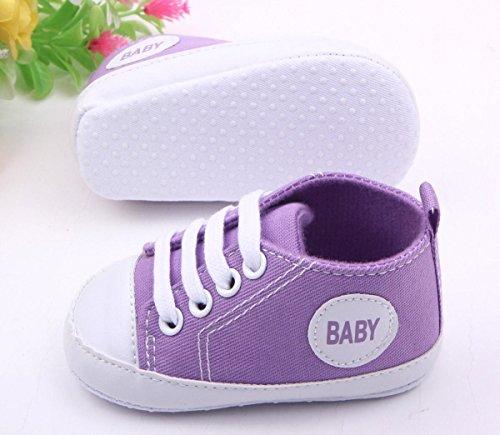 Happy Cherry 1Par Zapatos Bebés de Lona Zapatillas Primeros Pasos de Niños Niñas Antideslizante Suave Púrpura