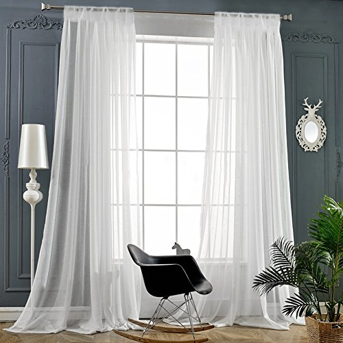 "Beautiful Sheer Curtains Draperie white Rod Pocket 2 Panels -95"" Inch Long"