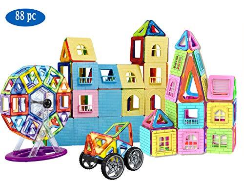 dreambuilderToy Magnetic Tiles Castle Card, Magnetic Building Blocks Game Set, Total 88 Pieces ()
