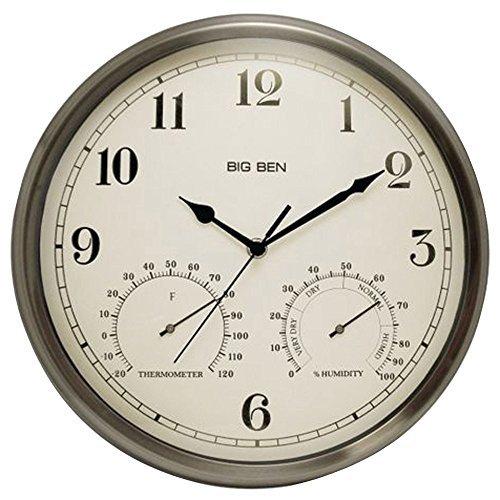 Westclox 49832 Indoor/Outdoor Clock with Temperature & Hu...