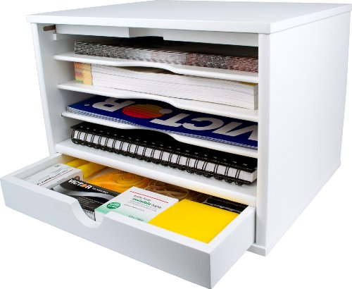 (Victor Wood Desktop Organizer with Closing Door, W4720 (Pure White), No Assembly Required)