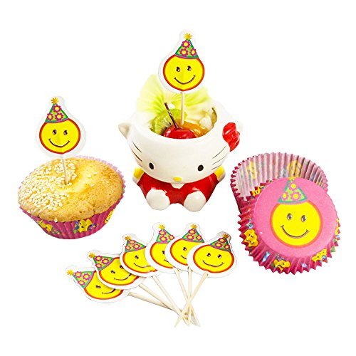 Emoji Smiley Face Cupcake Paper Liners With Picks 48 pieces