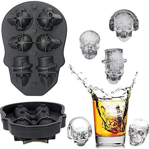 2019 Latest 3D Skull Flexible Silicone Ice Cube Mold Tray,Best for Whiskey, Cocktails and Vodka,Perfect Ice Cube Maker for Party and Christmas Eve Gifts ()