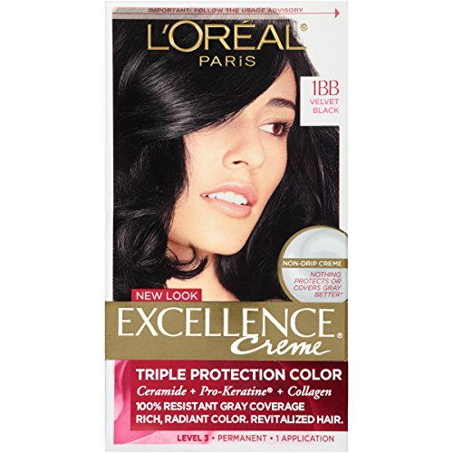 L'Oréal Paris Excellence Créme Permanent Hair Color, 1BB Velvet - Velvet Color Black