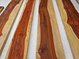 3/4 inch thick, cocobolo rosewood boards with some white wood, kiln dried
