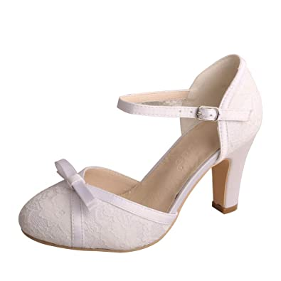 6756b3307190 Wedopus WDF7065 Women s Mary Jane Closed Toe Bow Court Shoes Block Heel  Lace Wedding Bridal Shoes. Roll over image to zoom in