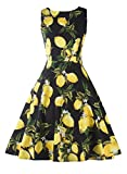 Ezcosplay Women's Sleeveless Lemon Floral Party Picnic Dress Cocktail Tea Dress