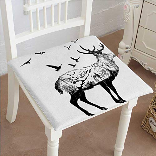 Mikihome Classic Decorative Chair pad Seat Cottage Scenery in Hand Drawn Animal Flying Birds Countryside Wildlife Themed Black White Cushion with Memory Filling 20''x20''x2pcs by Mikihome