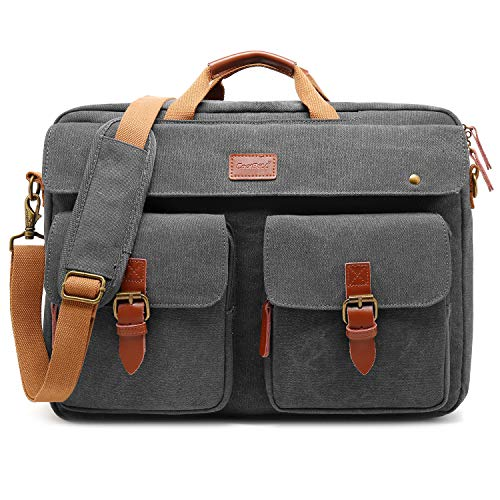 (CoolBELL Convertible Messenger Bag Backpack Laptop Shoulder Bag Business Briefcase Leisure Handbag Multi-Functional Travel Bag Fits 17.3 Inch Laptop for Men/Women/College (Canvas Grey))