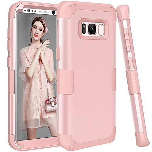 Galaxy S8 Case, KAMII 3in1 [Shockproof] Drop-Protection Hard PC Soft Silicone Combo Hybrid Impact Defender Heavy Duty Full-Body Protective Case Cover for Samsung Galaxy S8 (Rose Golden) - Samsung Galaxy Light Cases Anchor