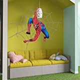 Superhero Spider Cartoon Kids Room Full Color Wall Decal, Superhero Spider Cartoon Kids Room Full Color Wall Sticker, K-292 FRST(52''x80'')
