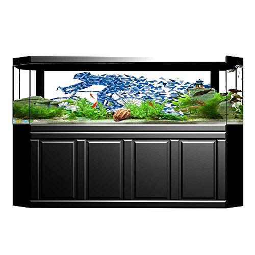 UHOO2018 Fish Tank Decorations Artistic Silhouette Design of A Biker Man with Triangle Geometrical Fragmented Features Ho HD Fish Tank Decorations Sticker 35.4